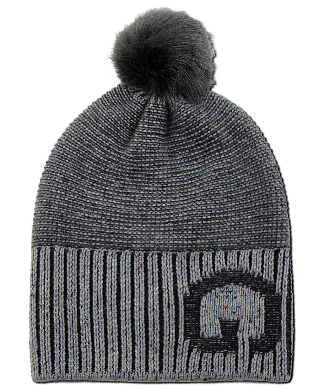 e747d52d900 TWO-TONE RIBBED BEANIE WITH FAUX FUR POMPOM - Øldberg