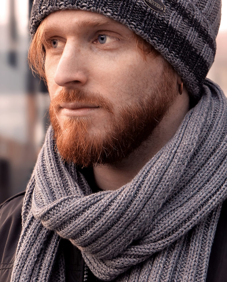 man grey scarf